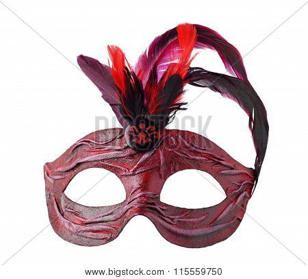 Red Carnival Venetian half mask with feathers, isolated on white