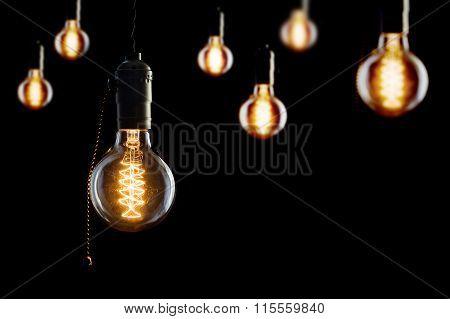 Vintage Incandescent Edison Type Bulbs On Black