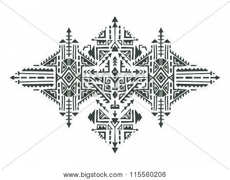 Tribal Art Boho Hand Drawn Geometric Pattern.