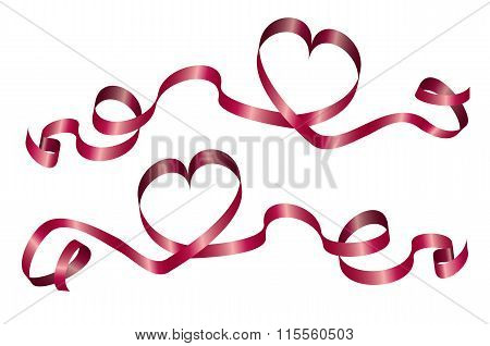 Red Hearts with ribbons.