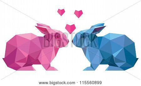 Vector Couple Of Lovers Rabbit Style Low Poly