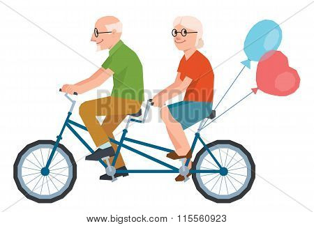 Vector Senior Married A Loving Couple Riding A Tandem Bike