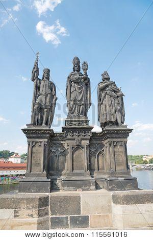 Sculptural Of St. Norbert, St. Wenceslas And St. Sigismund On Charles Bridge - Prague