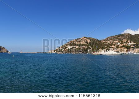 Marina in Port d'Andratx and Mediterranean Sea, Majorca, Spain