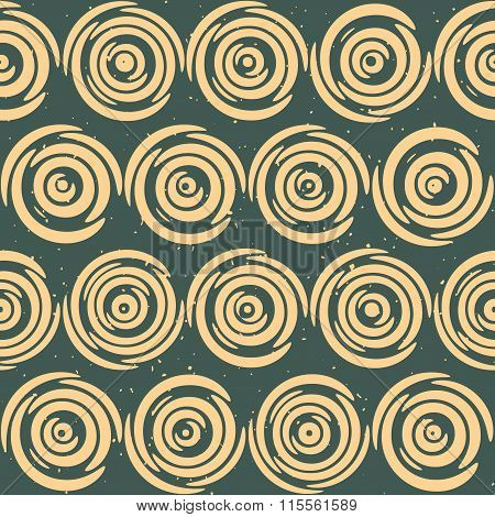 Vector Seamless Hand Drawn Geometric Lines Circular Round Tiles Retro Grungy Green Tan Color Pattern