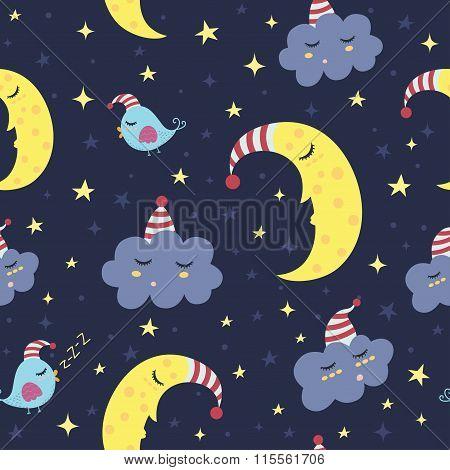 Good night seamless pattern