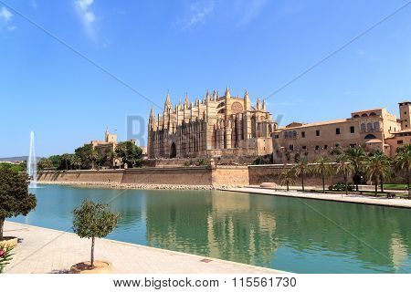 Church Palma Cathedral and blue sky in Majorca Spain