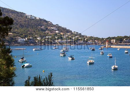 Boats in Port d'Andratx and Mediterranean Sea in Majorca Spain
