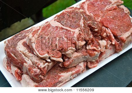 Raw meat prepared on the grill