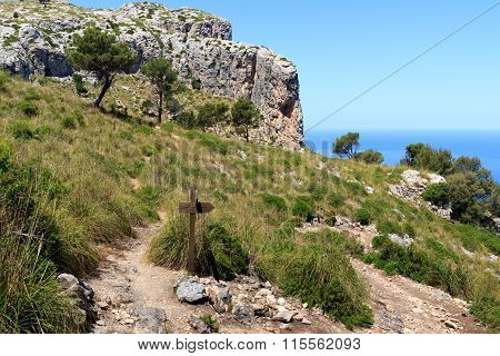 Hiking path in Majorca with Mediterranean Sea in background