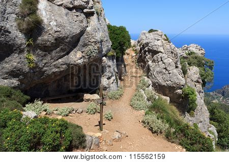 Hiking Path In Majorca Tramuntana With Mediterranean Sea In Background
