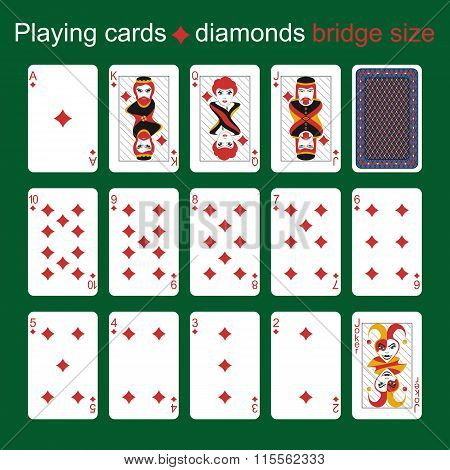 Playing Cards. Diamonds. Bridge Size
