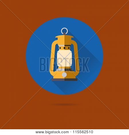 Petrol Lamp Icon. Flat design vector icon of oil lamp