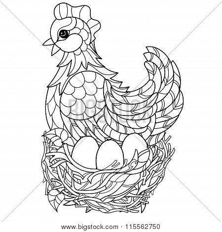 Hen. Hand drawn decorative farm animal