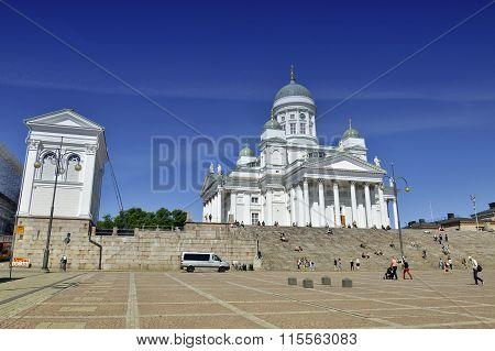 Helsinki, Finland - July 11, 2014: Lots Of People Visiting Helsinki Cathedral Or Helsingin Tuomiokir