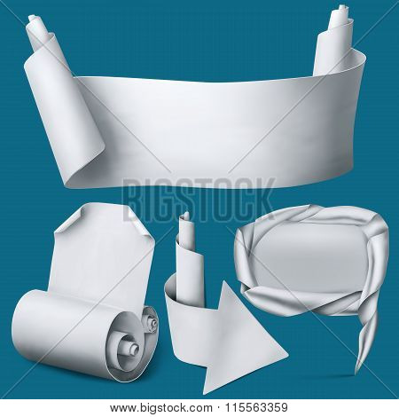 Set Of White Paper Realistic Elements. Banner, Arrow, Pointer And Curved Blank.