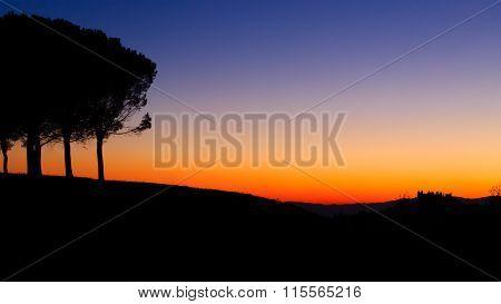 Hills Panorama At Sunset