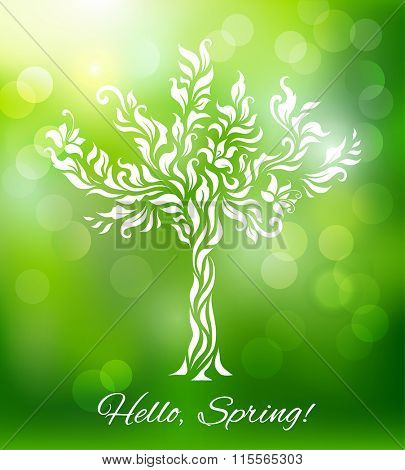 Spring background with blooming tree. Vector illustration.