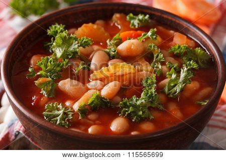 Vegetable Soup With Beans, Carrots And Celery Macro. Horizontal