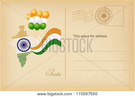 India Day Postcard In Vintage Style. Vector Illustration.