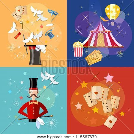 Circus Performance Magic Show Circus Tent Set Vector Illustration