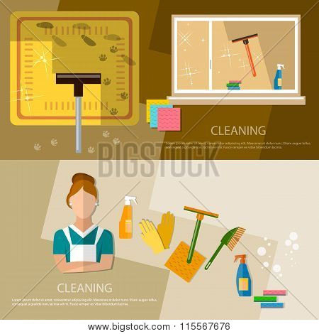 Cleaning Service And Cleaning Supplies Banner Home Cleaning
