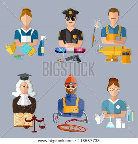Policeman Judge Welder Pharmacist Climber Housewife Collection Professions