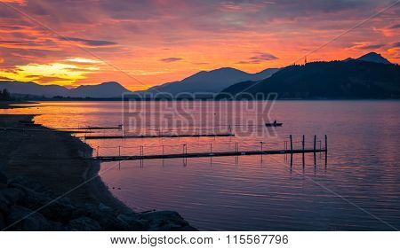Colorful Sunset And Boat