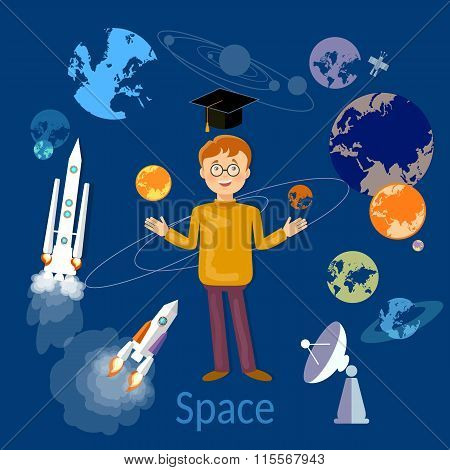 Education Schoolboy Studying Astronomy And Space
