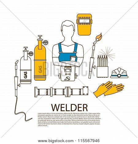 Professional Welder Welding Tools And Equipment Silhouette