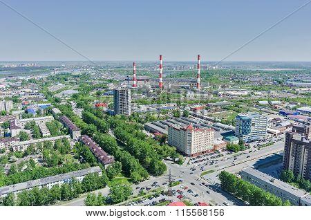 Harkovskaya street and power plant. Tyumen. Russia