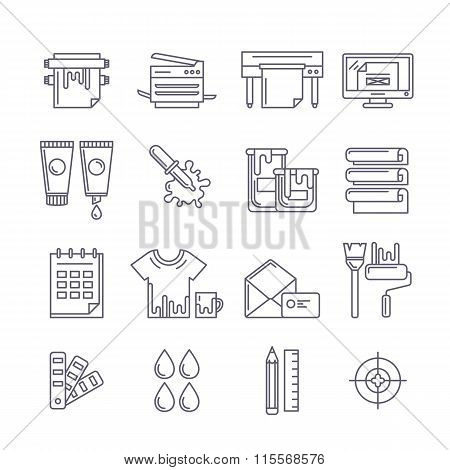 Vector Outline Printing Icons Set. Printer, Plotter, Paints And Paper, Stationery And Corporate Iden