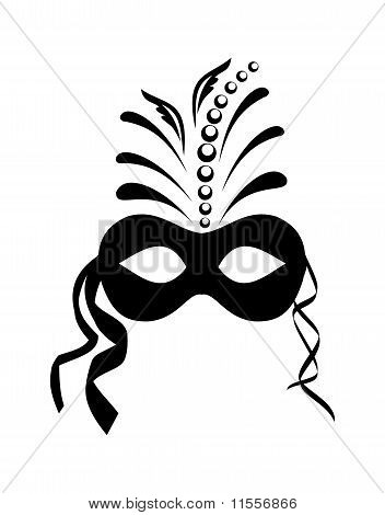 Close Up Black Carnival Mask Isolated