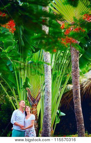 Young Couple Enjoys Tropical Nature