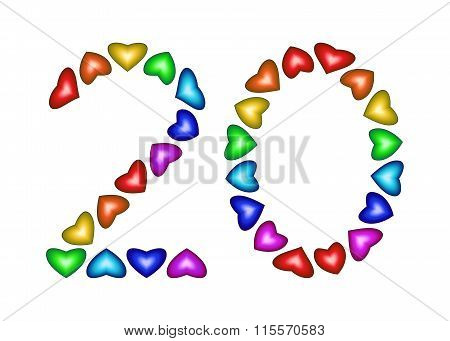 Number 20 Made Of Multicolored Hearts