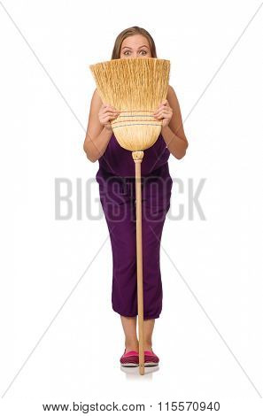 Housewife with broom isolated on white
