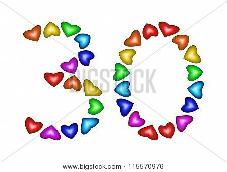 Number 30 Made Of Multicolored Hearts