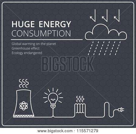 Creative black vector background. Wires with a fork and electricity. Business, slim design idea. Energy consumption, global solution, ecology.