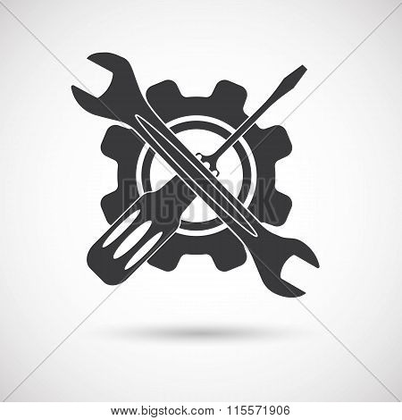 Tools icon. Gear, Screwdriver, wrench and gear