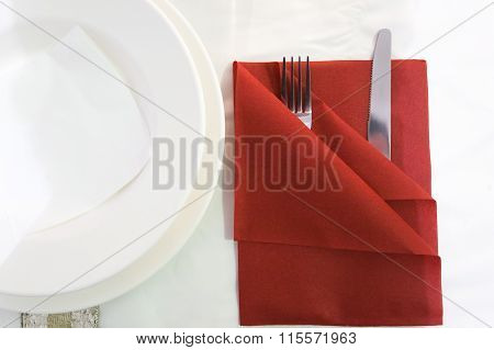 Knife And Fork On Table
