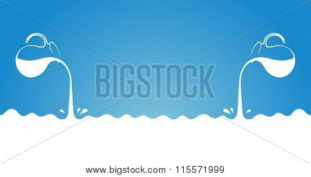 Milk flows from jug. Spray drops and white wave on blue background. Advertising label sticker template