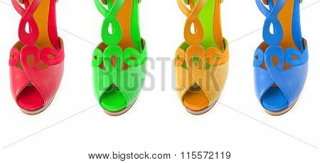 Colourful woman shoes isolated on white
