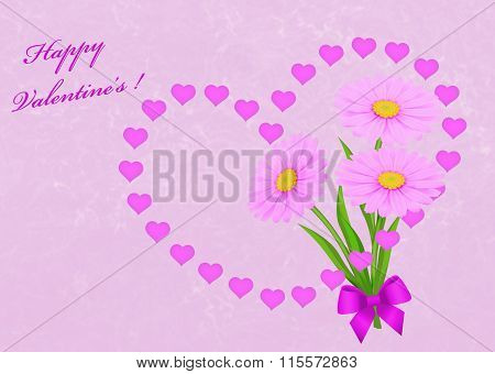 Pink Valentine's Day Card Background With Hearts And Daisies