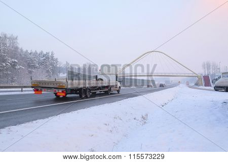 Warshava region, Poland, January, 19, 2016: Trucks on a highway in Poland