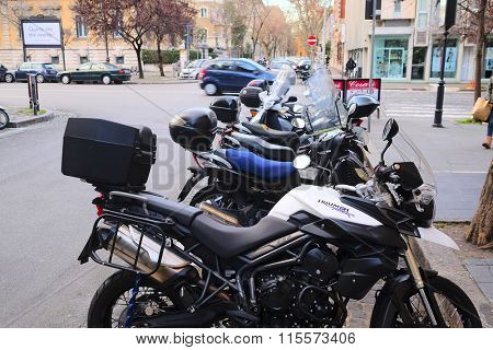 Roma, Italy, January, 17, 2016: Motorcycles on a parking in Roma, Italy