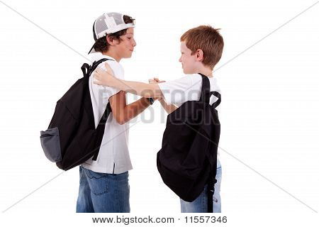 Boys Going To School, Greeting One Another, Seen From The Back, On White, Studio Shot