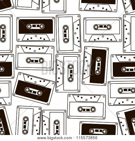 Seamless Pattern Of Audio Cassette Tapes.