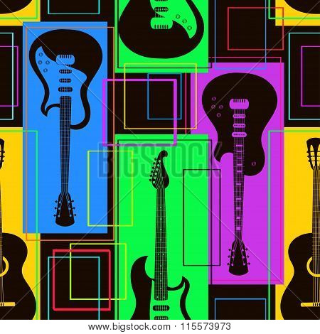 Seamless Pattern Of Guitars.