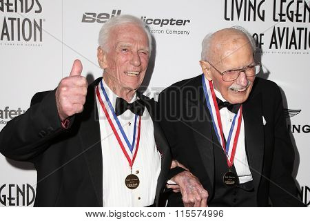 LOS ANGELES - JAN 22:  Gene Cernan, Bob Hoover at the 13th Annual Living Legends Of Aviation Awards at the Beverly Hilton Hotel on January 22, 2016 in Beverly Hills, CA