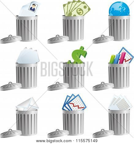 Trash bins with business signs